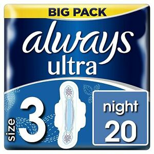 Always Ultra Night Sanitary Towels Pads Size 3 Wings Womens Absorbent Pack of 20