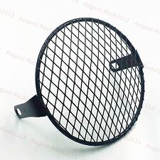 """6.4"""" Retro Grill Motor Side Mount Headlight Cover Mask Cafe Racer Old School CB"""
