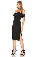 New Bardot Candice Midi Off Shoulder Crepe Bodice Dress Black 4
