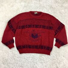 Size Large L Men's Vintage 1970s 1980s Sweater Red Eagle E Pluribus Umum 70s 80s