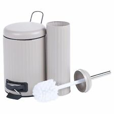 Matching 3 Litre Pedal Bin & Toilet Brush Pedal Operated Waste Dustbin Metal