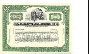 NARRAGANSETT RACING ASSOCIATION INC....UNISSUED COMMON STOCK CERTIFICATE