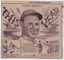 1940 newspaper sports cartoon - Brooklyn Battle Cry, Leo Durocher, Pee Wee Reese