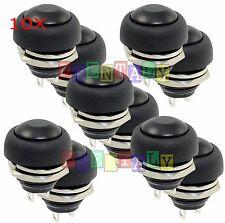 Black 10x M4 12mm Waterproof Momentary Onoff Push Button Round Spst Switch