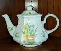 Vintage James Sadler England Windsor Hexagonal Basket Weave Floral Teapot
