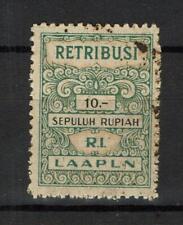 Indonesia Revenue Stamp Fiscaux Fiscal Taxpaid Retribusi LAAPLN 10,- R