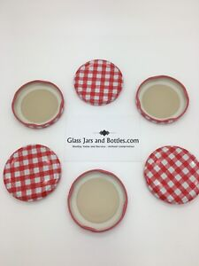 Jam Jar Lids 58mm Red Gingham Twist Off  - multiple pack sizes available