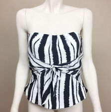 White House Black Market Size 4 Black White Silk Bustier Halter Zips at Back