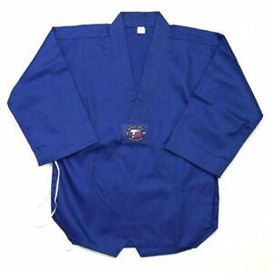 Taekwondo Uniform New Ribbed Poly Cotton SUPERIOR Taekwondo Uniform-BLUE