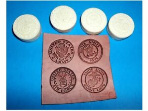 """Military Insignia Medallions Set of 4 Leather Emboss Plates 1 1/2"""" Diameter"""