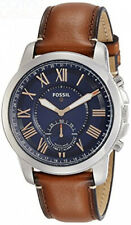 Fossil - Men's Grant Stainless Steel and Leather Hybrid Smartwatch with...