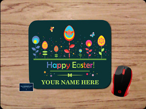 HAPPY EASTER PERSONALIZED NAME GREEN CUSTOM MOUSE PAD DESK MAT HOME SCHOOL WORK