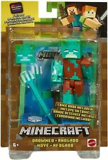 Minecraft Drowned Action Figure with Prismarine Block,Trident, mini Comic Book