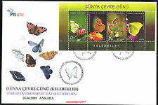 TURKEY 2009, WORLD ENVIRONMENT DAY ( BUTTERFLY S/S ) FDC