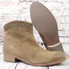 HAKEI Women's Ankle Boots Studded Size 39 Suede Leather Tan Brown NWOB Shoes