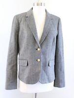 J Crew Factory Gray Herringbone Tweed Blazer Suit Jacket Size 10 Wool Blend