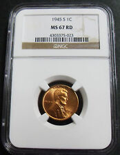 1945-S LINCOLN WHEAT EARS CENT NGC MS 67 RED