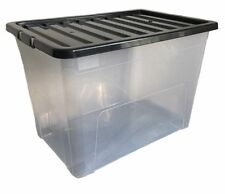 1 x 75L 75 Litre X Large Plastic Storage Clear Box Strong Stackable Container