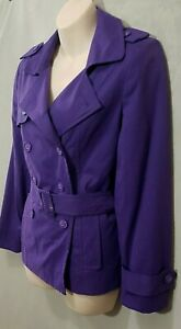 Size 10 petite DEBENHAMS women double breasted short belted trench jacket purple