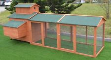 """124"""" Wood Hen Chicken Cage House Coop Huge w/Run 6 nesting boxes 10'"""