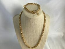 VINTAGE Jones New York JNY GoldTone Toggle Clasp Woven Chain Necklace Set braid