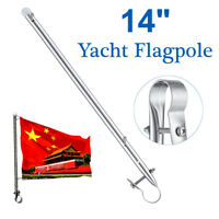 Rail Clamp Flag Staff Pole 14'' Stainless Steel For Boat Marine Yacht Flagpole