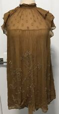 NEW Free People Party Sequin Embellished Chiffon Swing Dress Size XS Whiskey