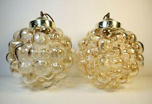 Pair of Helena Tynell Bubble  Amber Glass Pendant Light Limburg 1960's Vintage