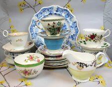 Hermosa vintage no coincidentes China: conjunto de servicio de té: 6 Tazas 7 platos Jarra & Bowl