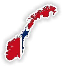 Sticker Silueta Noruega Mapa Bandera Para Parachoques Guitarra Patineta Locker Tablet