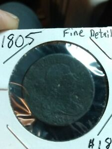 1805: Draped Bust Large Cent Fine Details