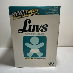 Vintage Luvs Small Newborn Diapers Open Box 6-14 Lb. See Photos Movie Prop
