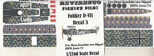 Fokker D VII Jäger WW 1 - Decal Set Hans Joachim von Hippel JAFU Jasta 71 (1:72)