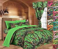 CAL KING BIOHAZARD GREEN CAMO SHEET SET!!  BEDDING 6 PC CAMOUFLAGE LIGHT WOODS