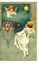 Heavenly Angels-Cloud-Heart-Happy Christmas Holiday Greeting Tuck Postcard