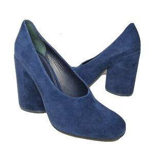 Tory Burch women pumps shoes Lucia Heels blue navy suede Leather Size 9 New