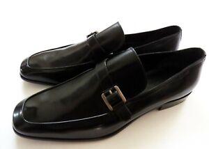 BALLY Black Leather Belt Strap Loafers Shoes Size 11.5 US 44.5 Euro 10.5 UK