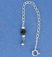 "Sterling Silver 4 "" Necklace Extender, Tourmaline & Pearl"