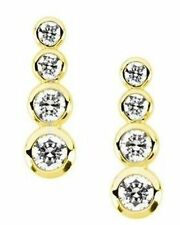 1.25 ct Round Diamond 4 stone Graduated Journey Earrings 14k Yellow Gold VS/SI1