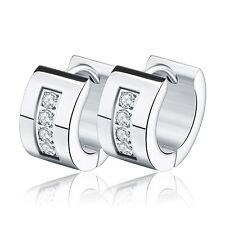 316L Stainless Steel Hoop Earrings Gold Plated Punk CZ Crystal Earrings
