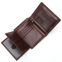 Mens Genuine Leather Trifold Wallet Card Case Holder Coin Purse Brown