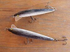 "2 VTG 3 3/4"" Fishing Lures 2 Hooks ea Silver Bellied Black Gray Tops Hong Kong"
