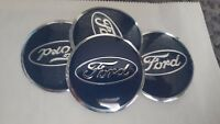 4 X 56mm Navy/Chrome FORD Centre Wheel Cap/Sticker
