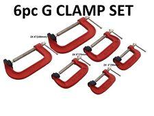 "6pz Heavy Duty G-Clamp Set 2 "" 3"" & 4 ""C / W Soft mascella PADS 50mm 75mm, 100mm G MORSETTI"