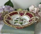 Antique Samuel Alcock porcelain comport with central handpainted flower #2