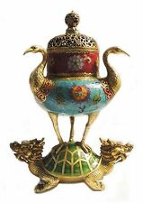"13""China Cloisonne Enamel Gilt Dragon Loong Tortoise Crane Incense Burner Censer"