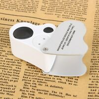 30X 60X LED Light Magnifying Loupe Jewelry Eye Jewelers Pocket Magnifier Loop