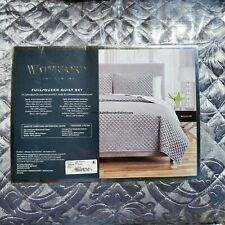 Waterford Millie Fine Linens 3pc Full/Queen Damask Quilt Platinum Velvety Soft