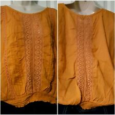 🍁FYLO womens orange top Size M Batwing sleeves Pintucks and lace