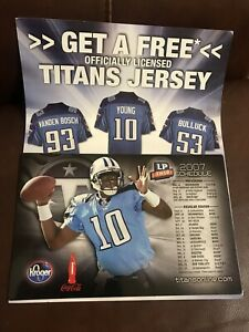 """TENNESSEE TITANS 2007 Vince Young #10 Schedule Team Magnetic magnet 8.5""""x5.5"""""""